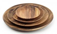 4 Holzteller aus Akazie rund Holz Schale Obstteller Deko Unikate