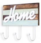 Hakenleiste 3 Wandhaken 30x20cm Blau Creme Holz Garderobe Home maritim