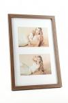 Fotorahmen 2 Fotos 10x15 Passepartout Holz Nussbaum braun Bilderrahmen