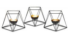 3er Set Teelichthalter Metall Windlicht Schwarz Kerzenständer Deko Tischtedeko