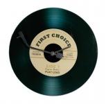 Wanduhr Glas 30cm rund Schallplatte schwarz Design Uhr Glasuhr