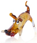Designer Glas Skulptur 16x20x30cm Hund Glasfigur Deko Unikat