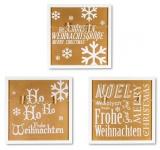 3er Set Wandbilder Je 30x30cm Weiß Gold Holz Weihnachten Sprüche Memoboard Deko