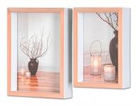 levandeo 2er Set Bilderrahmen Kupfer Rose Weiß 10x15cm 13x18cm Fotorahmen Glas