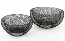 2tlg.Schalenset Metall 3D schwarz 24cm & 28cm rund Schüssel Dekoschale