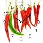 levandeo Wanduhr Glas 30x30cm Glasuhr Uhr Glasbild Chili Küchenuhr Deko