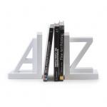 2er Set Buchstützen A und Z Weiß Holz 15x11x15cm Buchhalter Stützen