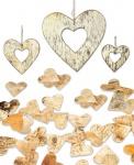 80x Streuherzen und 3x Herzen zum Hängen Im Set Natur Birke Herz Tischdeko Deko