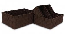 Aufbewahrungsboxen 4 Stück 3 Größen braun Nylon Dekokorb geflochten