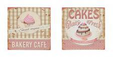2er Set Blechschild Metall 30x30 Rosa Vintage Shabby Chic Küche Cafe