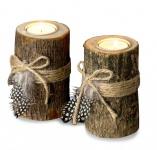 2er Set Teelichthalter Holz je 12cm hoch Kerzenhalter Federn Kerzenständer