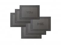 6er Set Platzset schwarz grau 45x30cm You Me edel Tischmatte Deko