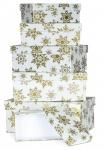 Geschenkbox 6er Set Weihnachten Christmas Geschenk Schneeflocken Gold Box Deko