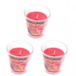 levandeo 3er Set Duftkerzen im Glas 9cm Hoch Rose Kerze Windlicht Deko