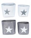 4er Set Aufbewahrungskörbe Boxen in grau weiß mit Sternen Stars