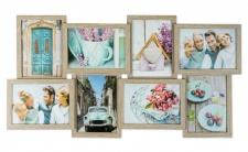 levandeo Bilderrahmen Collage 68x36cm 8 Fotos 13x18 Eiche gekälkt Holz MDF Glas
