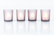 4er Set LED-Teelichter in Glas Windlichter Schriftzug HOME grau braun