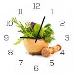Wanduhr aus Glas 30x30cm Uhr als Glasbild Küche Kräuter Gewürze Deko