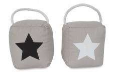 2er Set Türstopper grau Sterne Stars Türpuffer Türhalter Kordel-Griff