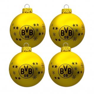 BVB Borussia Dortmund Weihnachtskugeln / Christbaumkugeln 4 er Set