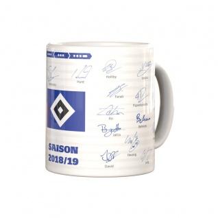 HSV Hamburger SV Tasse / Kaffeebecher ** Unterschriftentasse Saison 18 / 19 **