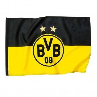 """BVB Borussia Dortmund Stockfahne / Fahne / Schwenkfahne """" 2 Sterne """" 120 x 80"""