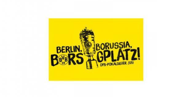 """BVB Borussia Dortmund Hissfahne / Fahne / Flagge """" Pokalsieger """" 100x150 cm"""