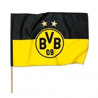 """BVB Borussia Dortmund Stockfahne / Fahne / Schwenkfahne """" 2 Sterne """" 120x80 cm"""