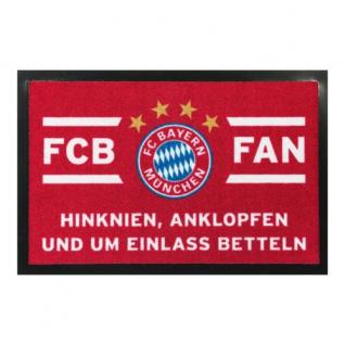 """FC Bayern München Fussmatte """" Hinknien, Anklopfen und um Einlass bitten"""
