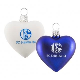 FC Schalke 04 Weihnachtsbaumschmuck ** Glas-Herz ** 2er Set Christbaum (b/w)