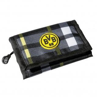 BVB Borussia Dortmund Gelbörse / Portemoinnaie kariert mit Emblem