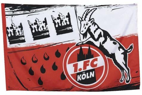 1. FC Köln Fahne / Hissfahne 80x120cm ** Wappen ** 2 Ösen