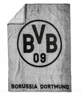 "BVB Borussia Dortmund Fleecedecke "" Grau "" 200 x 150 cm"
