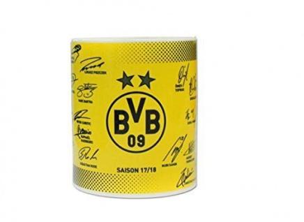 """BVB Borussia Dortmund Unterschriften Tasse """" Team"""" 2017/2018"""