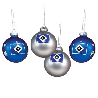 HSV Hamburger Sportverein *** Weihnachtskugeln / Christbaumkugeln *** 4er Set