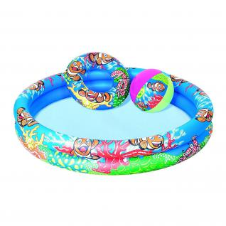 Bestway Planschbecken Set Clownfish, 122x20 cm Kinderpool / Pool 3 tlg.