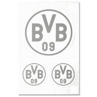 BVB Borussia Dortmund Aufkleber Logo 3er Set (Autoaufkleber / Sticker ) silber