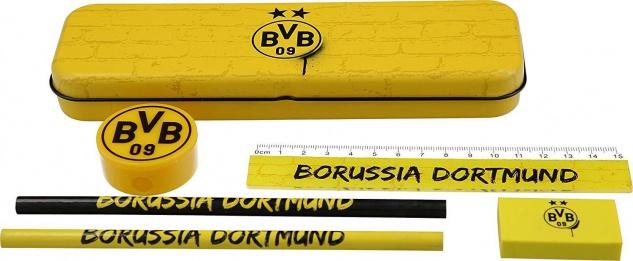 BVB Borussia Dortmund Schulset / Schreibset ** Metallbox ** 18450100