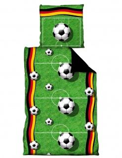 Fußball Bettwäsche *** Spielfeld *** 135x200cm / 80 x 80 cm Deutschland Fahne