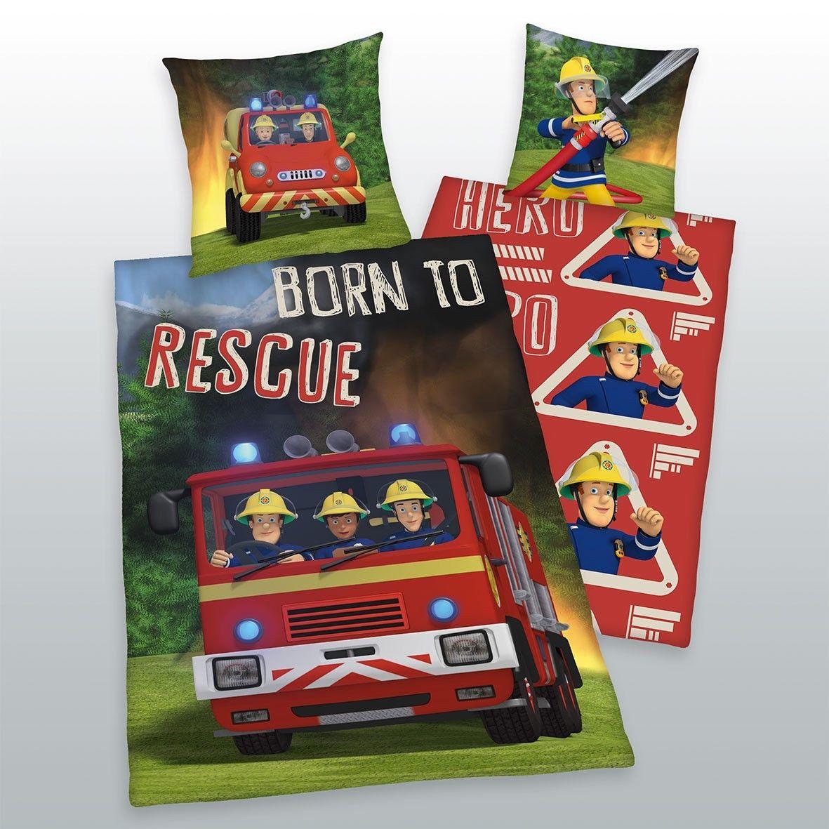 Herding Feuerwehrmann Sam Bettwäsche 135x200 80x80 100 Baumwolle