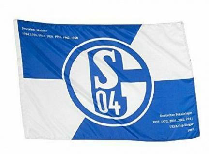 "FC Schalke 04 Hissfahne/ Hissflagge "" Erfolge"" 90x60 cm (Fahne) (2 Ösen)"