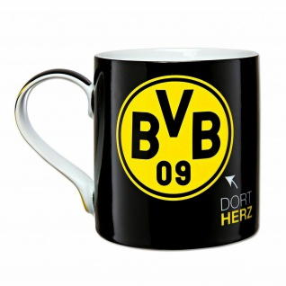 """BVB Borussia Dortmund Kaffeebecher / Tasse """" Dort Mund... Dort Herz..."""