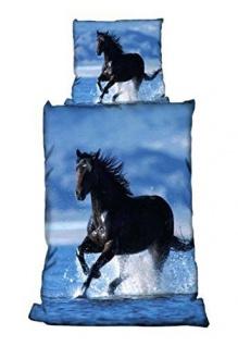 """Bettwäsche Mikrofaser """" Pferd im Wasser """" 135x200 / 80x80 cm"""