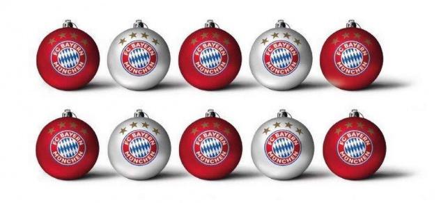 FC Bayern München Weihnachtskugeln / Christbaumkugeln ** Rot / Silber ** 3 cm 10
