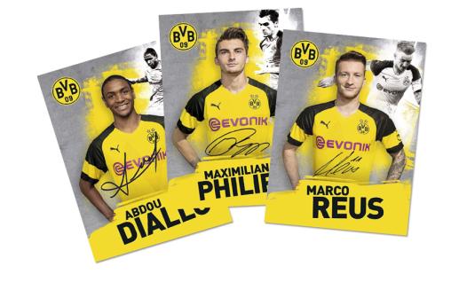 BVB Borussia Dortmund Autogrammkarten / Autogrammkartenset Saison 18 / 19 ** mit