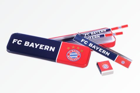 FC Bayern München Faulenzermäppchen / Schulset / Metalldose