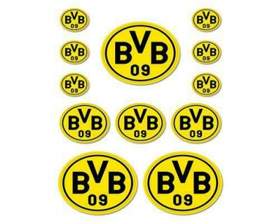 BVB Borussia Dortmund Aufkleber / Aufkleberkarte 12 Stck 16140100