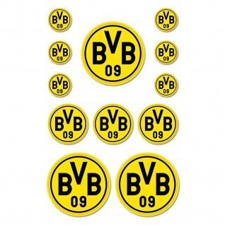 BVB Borussia Dortmund Aufkleber Logo 12 er Set (Autoaufkleber / Sticker ) gelb