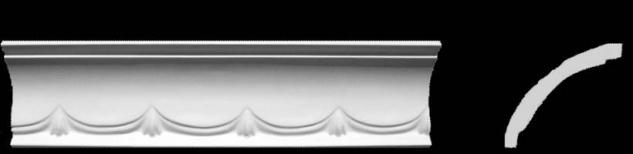 Eckprofil C-10 Gipsstuck Profil 80x90mm Stuckleiste Gips Stuck mit Wellendekor 350cm