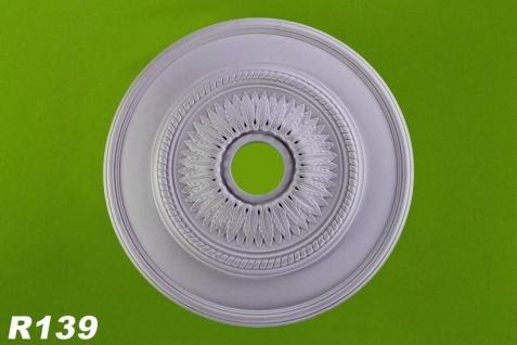 R139 Lochrosette als Lampen Stuck Deckenrosette aus Polyurethan Hartschaum mit weißer Oberfläche 60cm